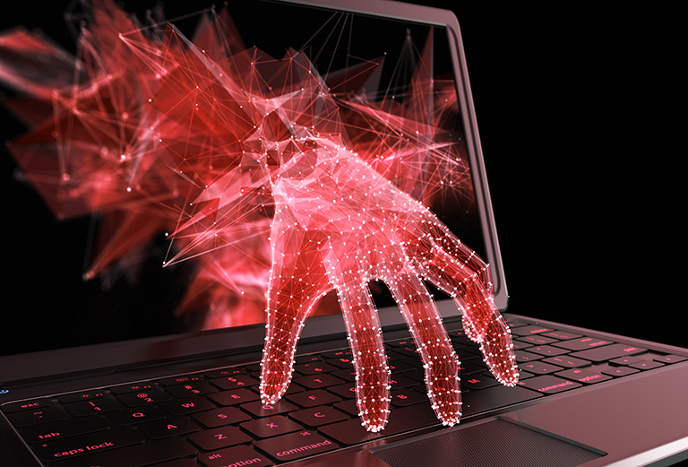 image of Stealing personal data through a laptop concept for computer hacker, network security and electronic banking security